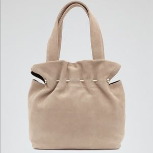 Reiss Natural Cassius Suede and Metal Tote Bag